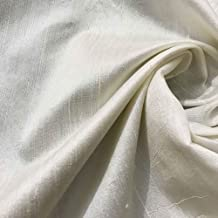 DesiCrafts 100% Pure Raw Silk Fabric 2.5 Meters, Ivory Raw Silk Fabric