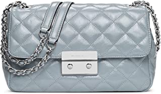 Sloan Large Chain Shoulder Bag in Dusty Blue