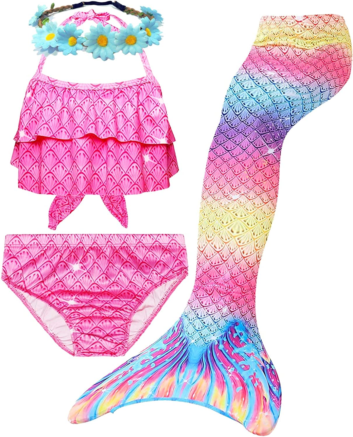 4 Pcs Girls Swimsuit Mermaid Set Swimming Cos Safety Max 53% OFF and trust Bikini for