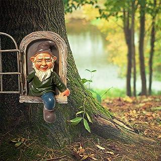 Elf Out The Door Tree Hugger Garden Gnome Statue,Garden Peeker Yard Art,Whimsical Tree Sculpture Garden Decoration Outdoor...
