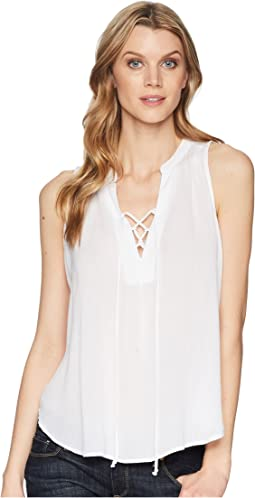 1577 Rayon Crepe Laced Loose Tank Top