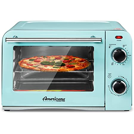 """Elite Gourmet Americana Fits 9"""" Pizza, Vintage Diner 50's Retro Countertop Toaster oven Bake, Broil, Toast, Temperature Control & Adjustable 60-Minute Timer, Glass Door Printed Wrong,"""