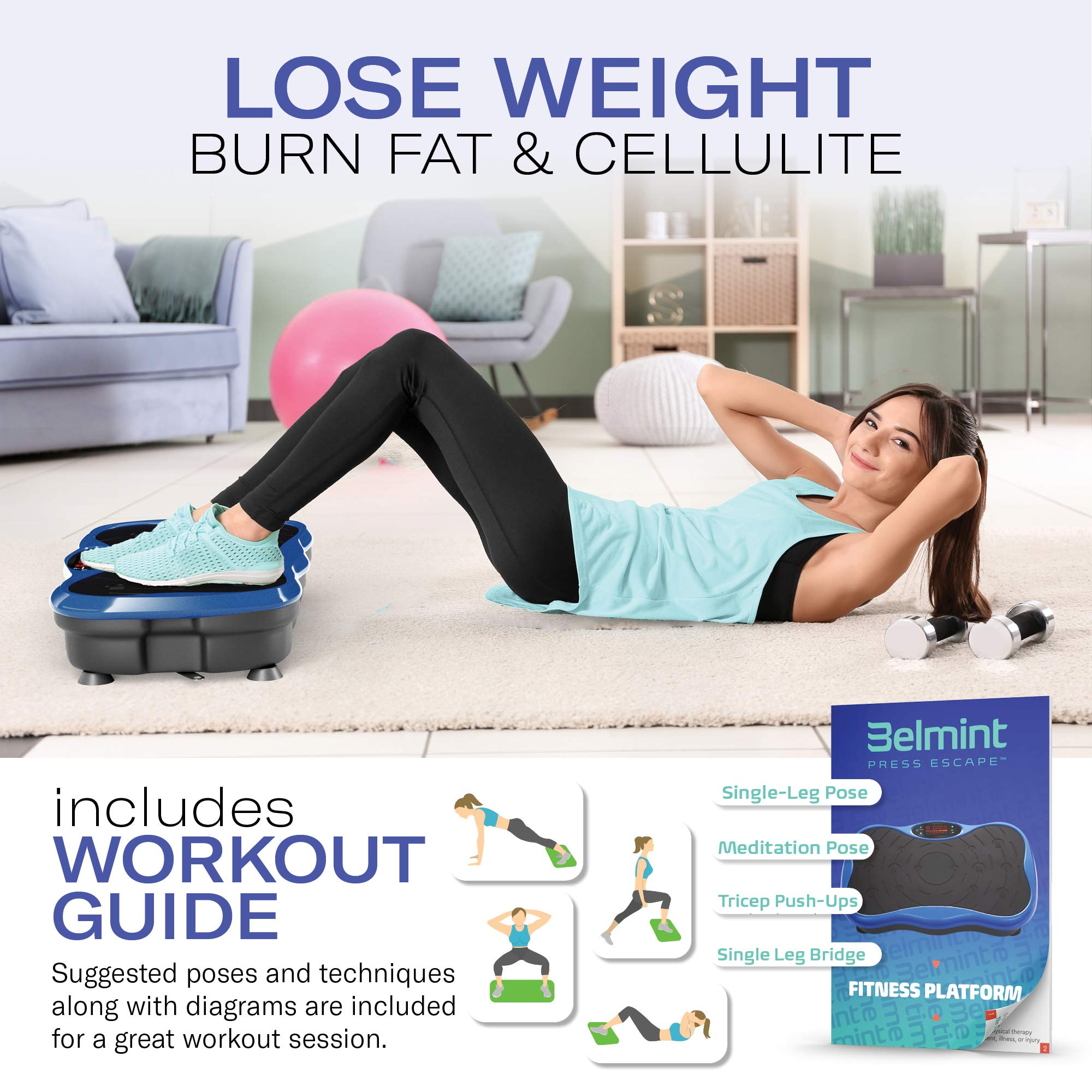 Toning Core Legs Back Lose Fat Belmint Vibration Plate Exercise Machine Squat Mini Fitness Board with 2 Resistance Bands Weight Loss Home Training Equipment Platform for Full Body Workout