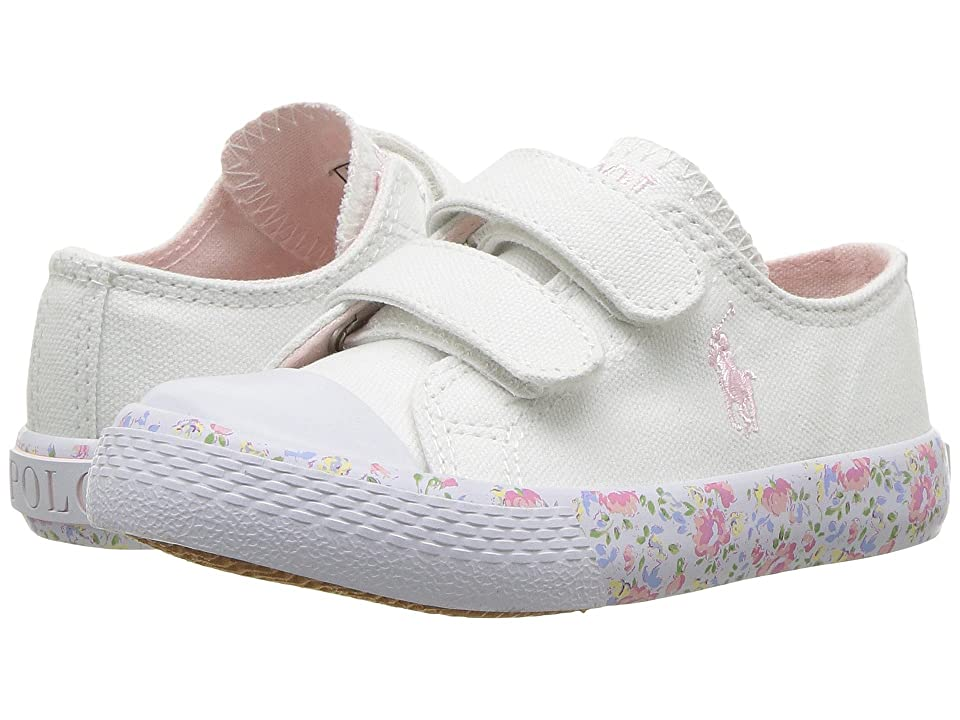 Polo Ralph Lauren Kids Slone EZ (Toddler) (White Canvas/Light Pink Pony Player/Printed Floral Foxing) Girl