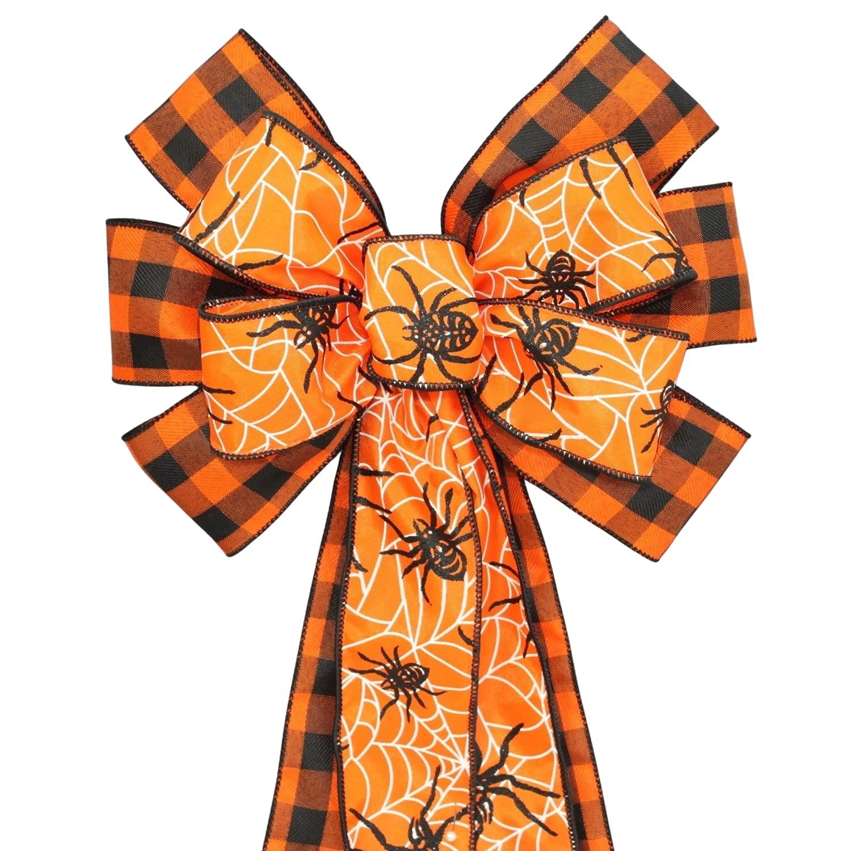Spider mart Orange Black Buffalo Plaid latest Halloween Wreath Bow
