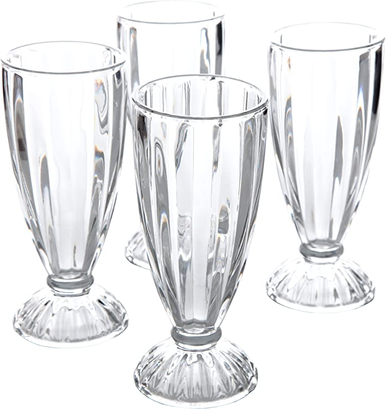 General Store 82887 04RM Embossed Glass 12 Oz Milk Shake Glass 4 Pack Clear