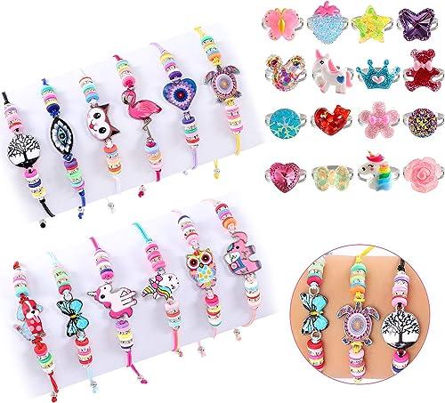 vamei 28Pcs Bracelet Fille Bague Petite Fille Bracelet Amitié pour Enfant Bijoux Enfants Fille Licorne Bracelet Cordo...