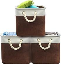 Jizfmion Storage Cubes 12x12 inch,Foldable Storage Bins 3-Pack,Decorative Fabric Organizer Bin for Shelves,Clothes,Toys,Bl...