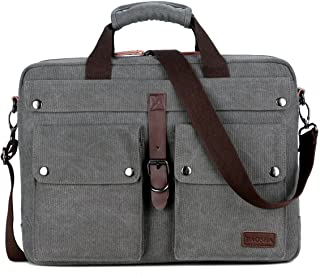 BC-07 17inch Canvas Laptop Computer Bag Messenger Bag Multicompartment Briefcase (Grey)