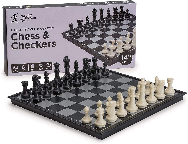 minorista de fitness 2 in 1 Travel Magnetic Chess and Checkers Checkers Checkers Set - 14''  apresurado a ver