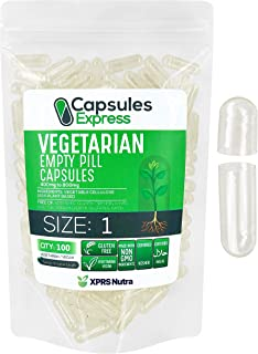XPRS Nutra Size 1 Empty Capsules - Clear Empty Vegan Capsules - Capsules Express Vegetarian Empty Pill Capsules- DIY Veget...