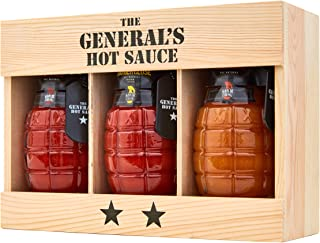 The General's Hot Sauce 2-Star Gift Box: Three 6 oz Bottles of Gourmet Hot Sauce Made With Louisiana-Grown Peppers, Great For Gifts! Dead Red/Danger Close/Shock & Awe