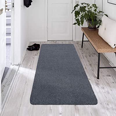 Ottomanson Scraper Collection Non-Slip Garage Mat/Entryway/Patio Runner, 2' x 5', Grey