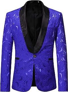 Mens Hipster Solid Rose Jacquard Dress Suit Jacket Wedding Prom Tuxedo
