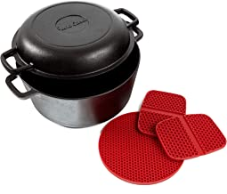 Uno Casa Cast Iron Dutch Oven with Lid - Pre-Seasoned 2in1 5Q Pot and 1.6Q Pan Cookware Set