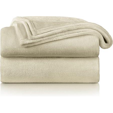 Blumtal - Couverture Polaire 130 x 150 - Plaid Beige - Plaid pour Canapé - Plaid Cocooning - Couverture Polaire Epaisse, Moelleuse, Douce Et Chaude - Haute Qualité