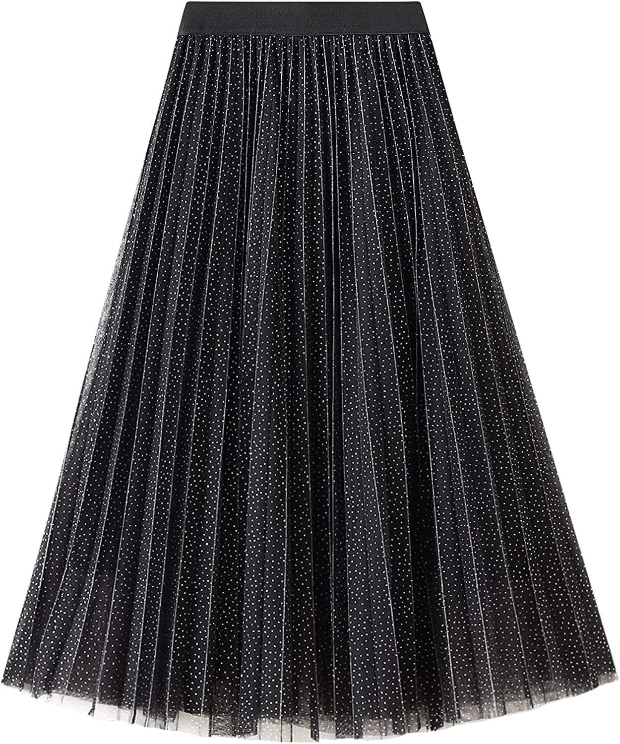 Women Long Pleated Hem Tulle Skirt with Lining High Elastic Waist A Line Skirts for Wedding Party