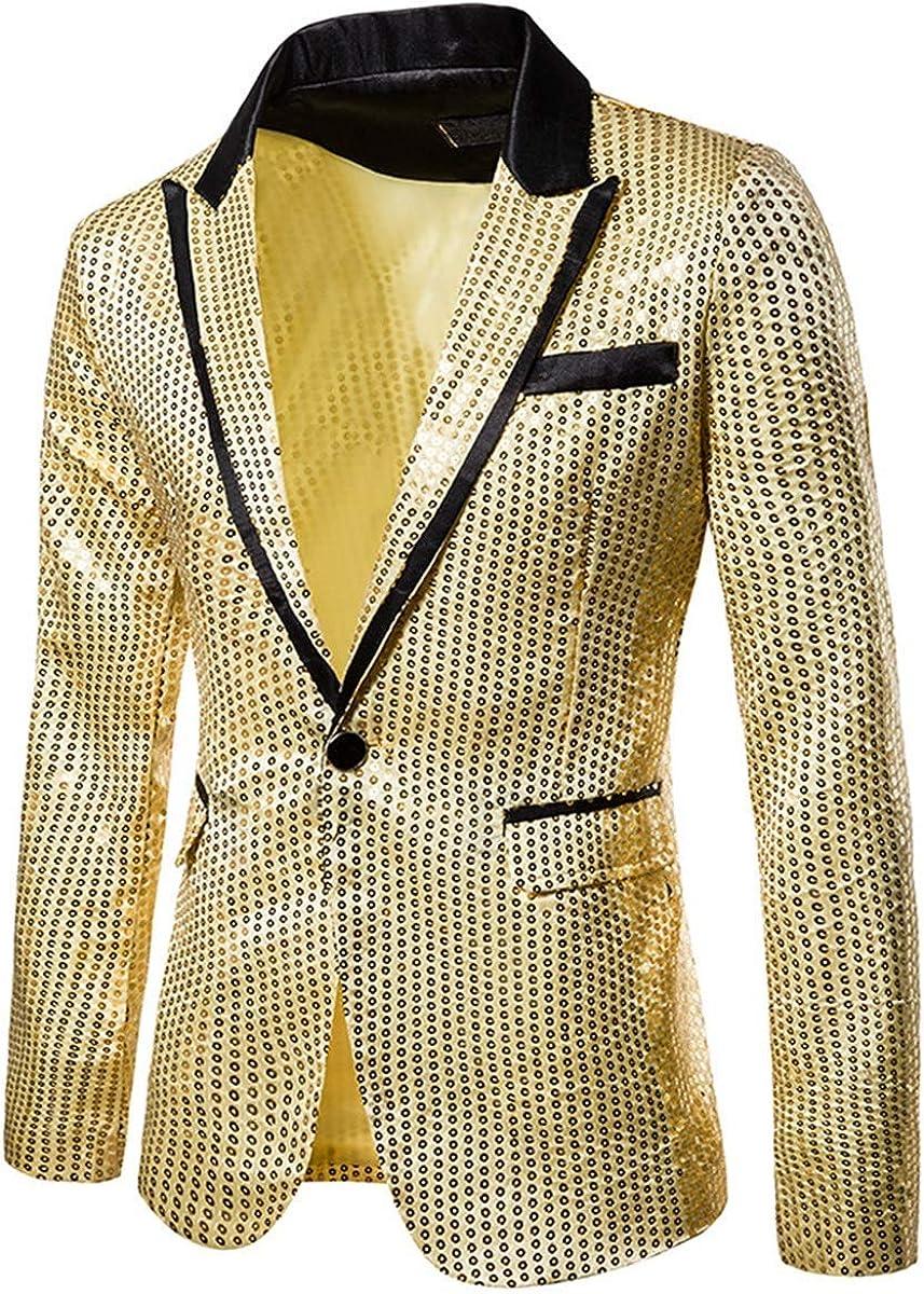 Mens Sequin Blazer Slim Fit Suit Jacket One Button Blazer Sports Coat