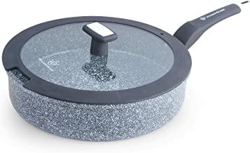 WaxonWare 11 Inch / 4.5 Quart All In One Large Nonstick Frying Pan With Lid - 100% PFOA PTFE APEO Free Stone Non Stick Saute Pan Suitable For All Stoves Including Induction (STONETEC Series)