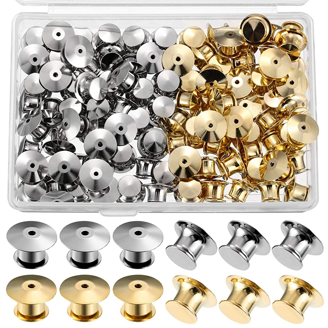 Mudder Locking Pin Keepers Backs, No Tool Required(Silver and Gold, 100 Pieces)