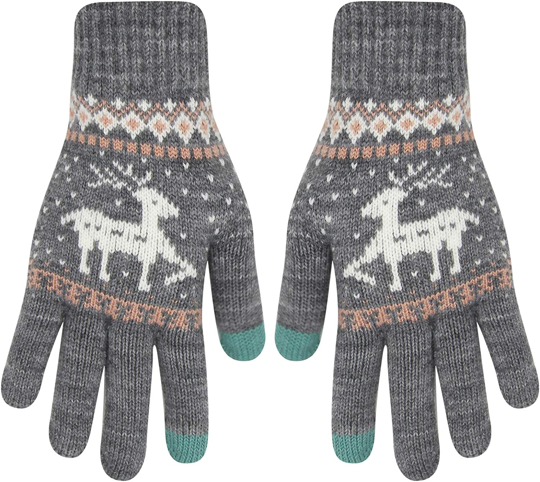 Winter Knitted Touchscreen Gloves Animal Deer Pattern Thick Fleece Warm Texting Mittens for Women Girls Men Couples