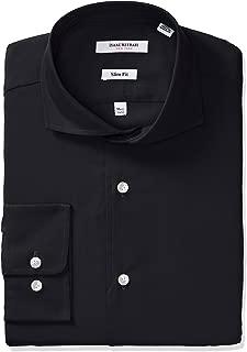 Men's Slim Fit Solid Broadcloth Cut Away Collar Dress Shirt