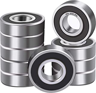 XiKe 10 Pcs 6202-2RS Double Rubber Seal Bearings 15x35x11mm, Pre-Lubricated and Stable Performance and Cost Effective, Deep Groove Ball Bearings.