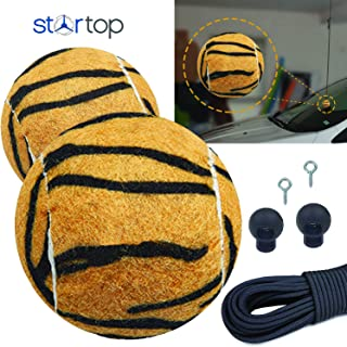 Double Garage Parking Assist Aids for Cars - Tennis Ball Garage Parking Aid, Easy To Install Fun Tiger Print Stop Assistant Sensor (2 Sets)