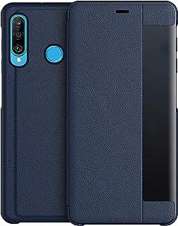 comprar comparacion KANSI Compatible con Huawei P30 Lite Funda,Flip Funda de Cuero + Cristal Templado - Marina