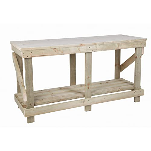 NEW HEAVY DUTY VERY SOLID WOODEN WORK BENCH STRONG HAND MADE UK NEXT DAY