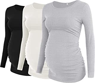 Women's Maternity T-Shirt Top 3 Pack Ruching Side Scoop...