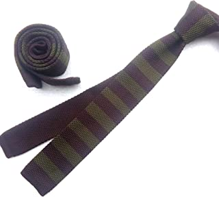 Mens Knit Ties Skinny Striped Woven Square End Leisure Necktie in Variant Colors