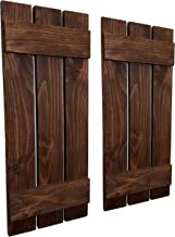 Countryside Rustic Pair of Decorative Board and Batten Shutters Available in 20 Colors - Shown in Special Walnut - Choose from 4 sizes 40