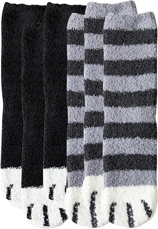 Max 45% Ranking TOP8 OFF EFOFEI Womens 6 Pairs Fuzzy Cat Slipper Winter Socks Cozy Fleece