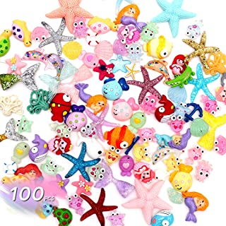 Yun's Slime Charms Set, 100PCS Mixed Mermaid Tail Flatback Slime Beads Ocean Marine Animal for Ornament Scrapbook DIY Crafts