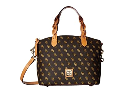Dooney & Bourke Blakely Small Celeste Satchel (Brown Tmoro/Btrsctch Trim) Satchel Handbags