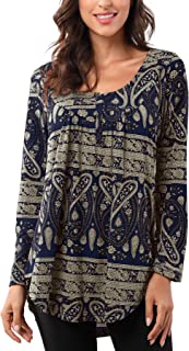 Bzonly Women's Long Sleeve Loose Casual T-shirts Rose Floral Printed Tee Swing Tunic Tops Shirts