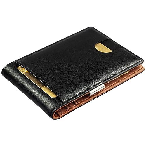 c46aadd081cc Portemonnaie Intelligent avec Pince à Billets en Cuir véritable -  Portefeuille avec Protection RFID, Porte
