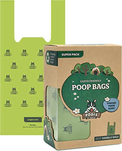 Pogi's Poop Bags - 300 Bags with Easy-Tie Handles - Large, Earth-Friendly, Scented, Leak-Proof Pet Waste Bags