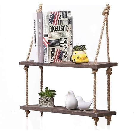 Estante colgante de madera maciza para pared con cuerdas, estilo rústico y clásico, madera, Dark, 2 Shelves
