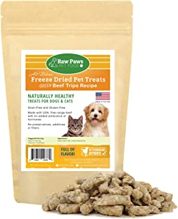 Raw Paws Pet Free-Range Freeze Dried Beef Green Tripe Dog Treats & Cat Treats - Made in USA - Raw Beef Tripe for Dogs Freeze Dried to Preserve Raw Nutrition - Grass-Fed Cows - Grain & Wheat Free