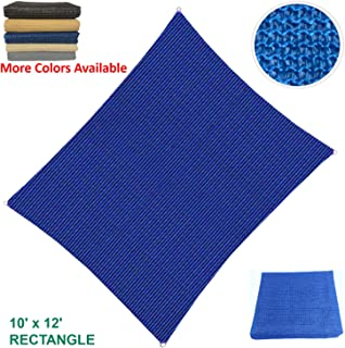 Sun Shade Sail Rectangular Outdoor with Durable Thick Air-Permeable UV Block Canopy Fabric Material for Garden, Patio, Swimming Pool, Backyard, Driveway, Fence, Deck, Carport (10' X 12', Blue)