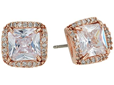 Kate Spade New York That Sparkle Princess Cut Large Studs Earrings (Clear/Rose Gold) Earring