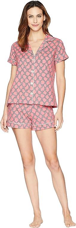 Coral Rope Short Sleeve Shorts Pajama Set