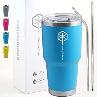 Stayhydrated 30oz Vacuum Insulated Tumbler Double Wall Coffee Cup with Lid & 2 Straws Travel Mug (30oz, Pacific Blue)   Keeps Liquids Hot or Cold with Double Wall Vacuum Insulated