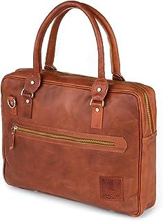 Berliner Bags Laptoptasche Madrid aus Leder 15 Zoll Umhängetasche Businesstasche Aktentasche für Damen Herren Braun