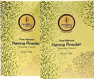 Matru Ayurveda 100% Pure, Natural and Chemical free bestseller Hair and Beard Color/Dye, Mehndi/Henna Leaves Powder Hair conditioner ; Ayurvedic/Herbal Hair Color, Covers Gray Hair (Twin)