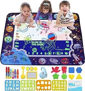 JoyLife Tapis Dessin Enfant, Tapis doodle fluorescents du Grand Size 100*80cm, tapis de dessin magique lumineux 2 en 1 pou...