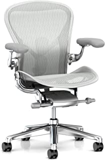 Herman Miller Aeron Ergonomic Office Chair with Tilt Limiter and Seat Angle | Adjustable PostureFit SL, Arms, and Carpet Casters | Large Size C with Mineral/Polished Aluminum Finish