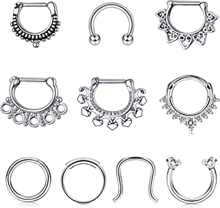 Jstyle 10Pcs 16G Stainless Steel Septum Clicker Nose Rings Hoop Horseshoe Cartilage Tragus Septum Ring Body Piercing Jewelry